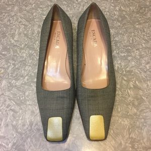 Escada fabric leather vintage 90's block low heel
